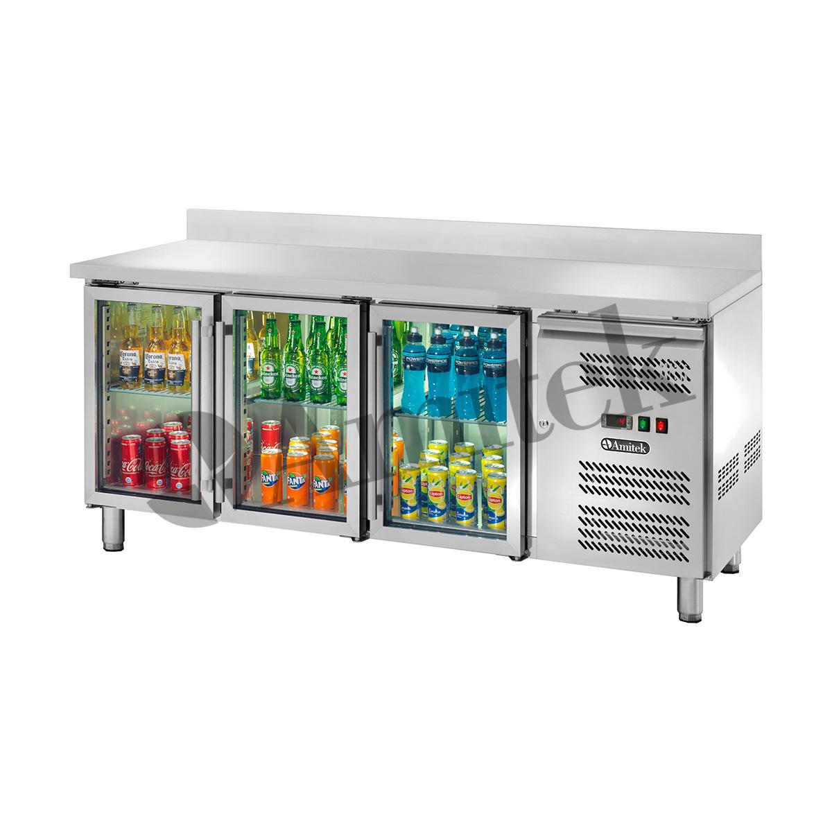 Banco refrigerato ventilato GN1/1 con porte a vetri e ...